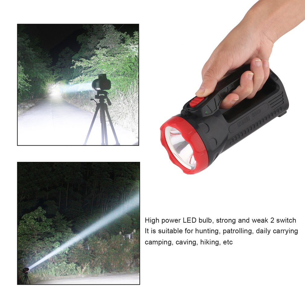 Newest Outdoor LED Bright Charging Strong Light Flashlight Torch Light One Lamp Head --