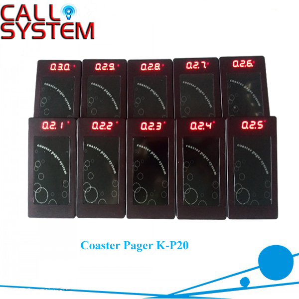 Wireless coaster pager system K-P20 mini buzzer for fast food restaurant/clinic 2 receivers 60 buzzers wireless restaurant buzzer caller table call calling button waiter pager system