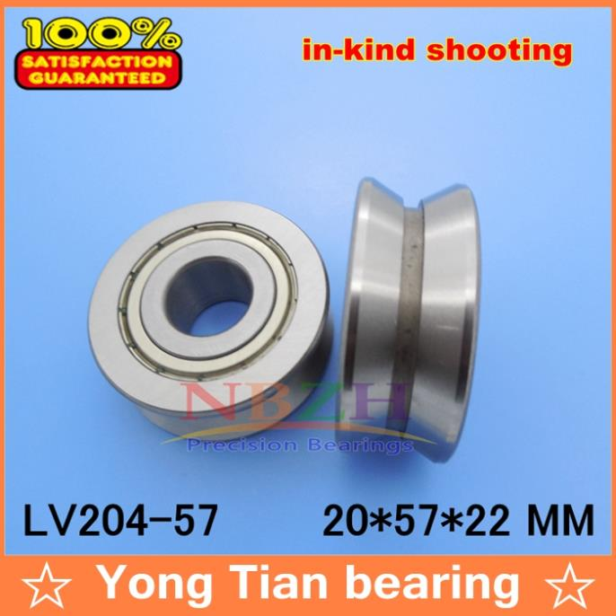 V Groove Guide roller bearings   LV204-57 ZZ L-57 RV204/20.57-30 20*57*22 (Precision double row balls) ABEC-5 gcr15 6326 zz or 6326 2rs 130x280x58mm high precision deep groove ball bearings abec 1 p0