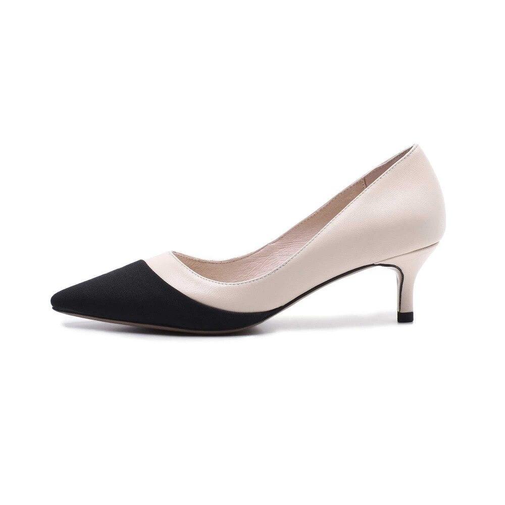 Casual Elegante Sólido negro L86 Bombas Beige Zapatos Cuero Peep Mujeres Moda Negro Toe Lenkisen Y Natural Med Talones gris Estilo Clásico Verano Mixto Colores 7Ow1I
