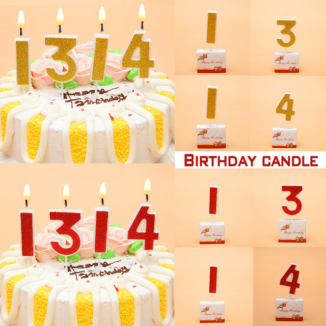 Birthday Candles Gold Red Number 0 9 Cake Cupcake Topper Party Candle Decoration Supply