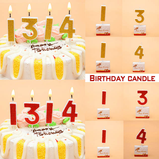 Birthday Candles Gold Red Number 0 9 Cake Cupcake Topper Party Candle