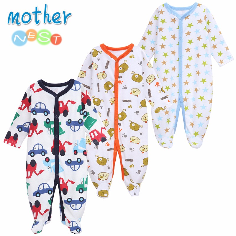 Mother Nest 3 PCSLOT Baby Boy Clothes Comfortable Baby Rompers Winter Thick Climbing Clothes Newborn 0-12 M Baby Clothes Unisex (4)
