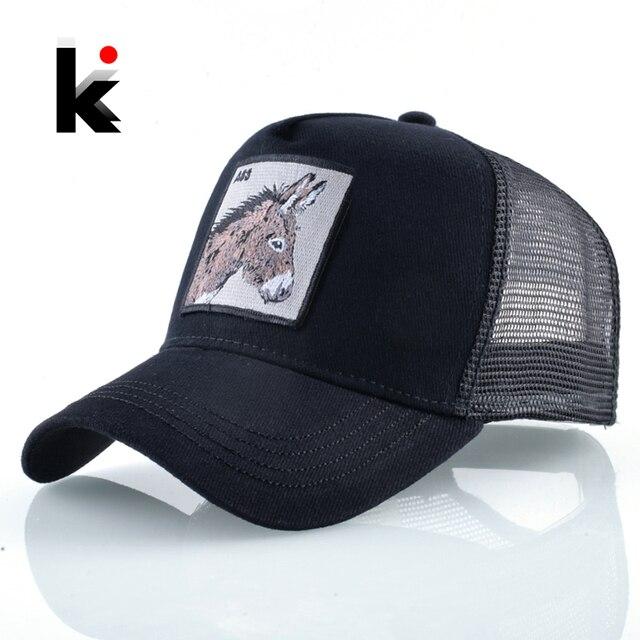חדש בייסבול Caps לגברים נשים אופנה חיות משק רקמת Snapback היפ הופ כובע לנשימה רשת שמש כובעי מתנה נהג משאית עצם