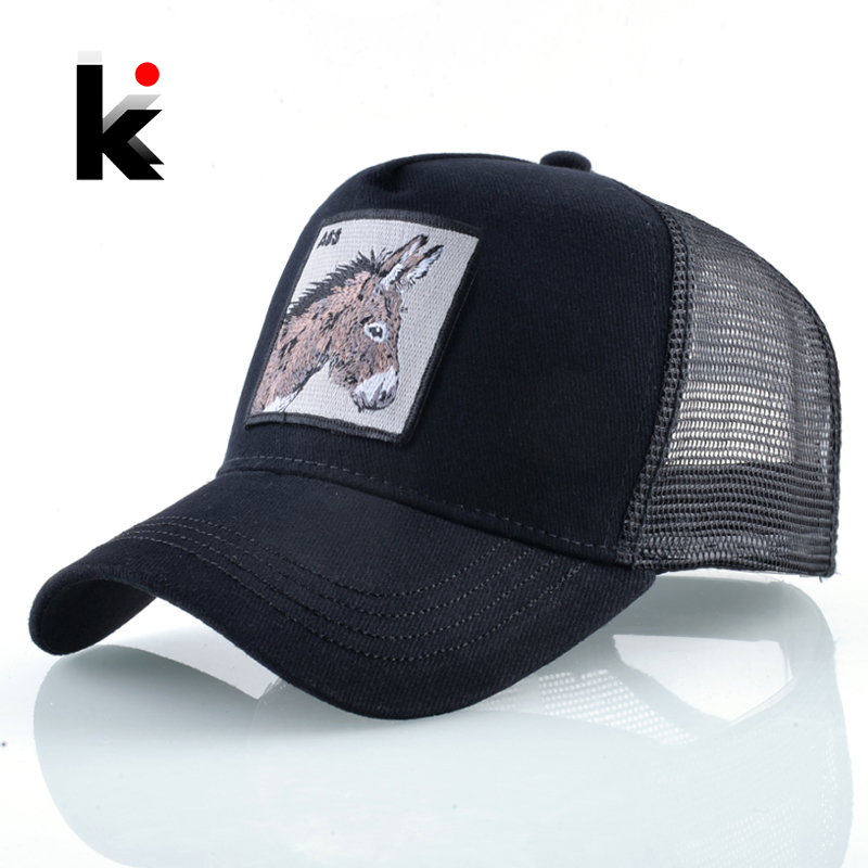 New   Baseball     Caps   For Men Women Fashion Farm Animals Embroidery Snapback Hip Hop Hat Breathable Mesh Sun Hats Gift Trucker Bone