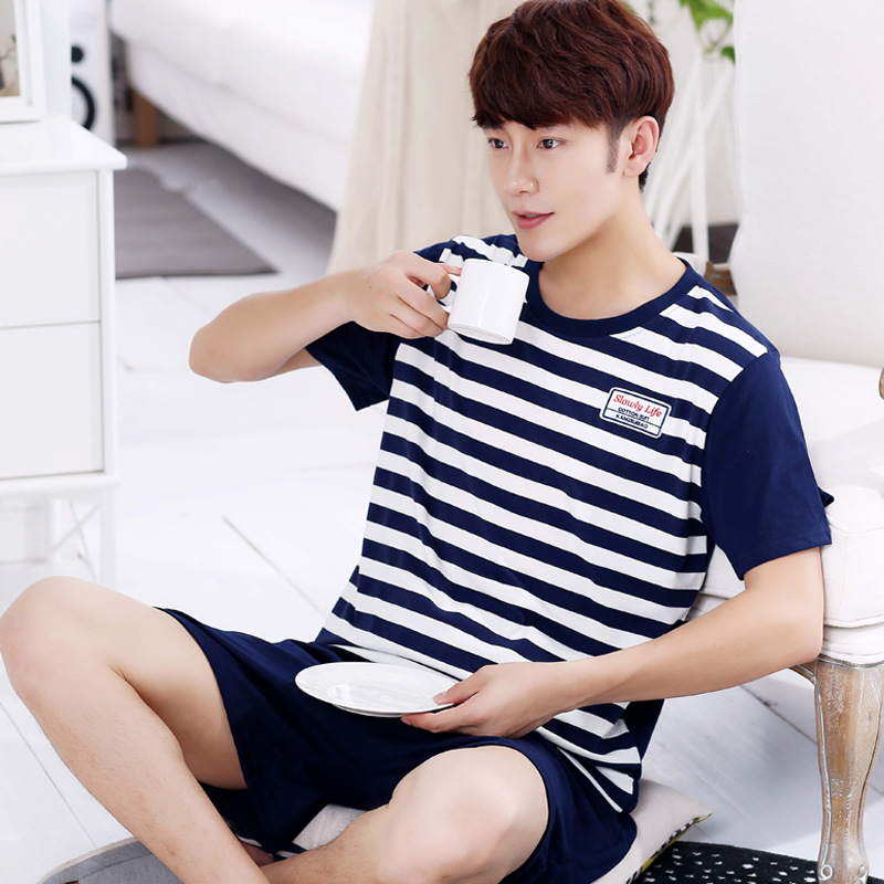 Summer Cartoon Men's Pajama Set Cotton O-Neck Short Sleeve Pajamas Sets For Men 2019 Summer Loose Male Sleep Wear Plus Size