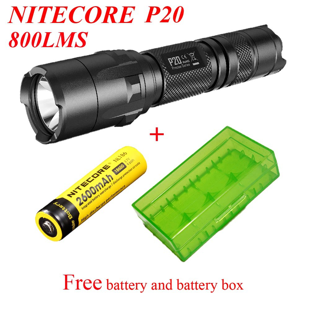 Free Shipping 1Set Nitecore P20 Flashlight Cree XM-L2(T6) LED 800LM Tactical Torch+NL186 Battery+18650 battery box rechargeable 2000lm tactical cree xm l t6 led flashlight 5 modes 2 18650 battery dc car charger power adapter