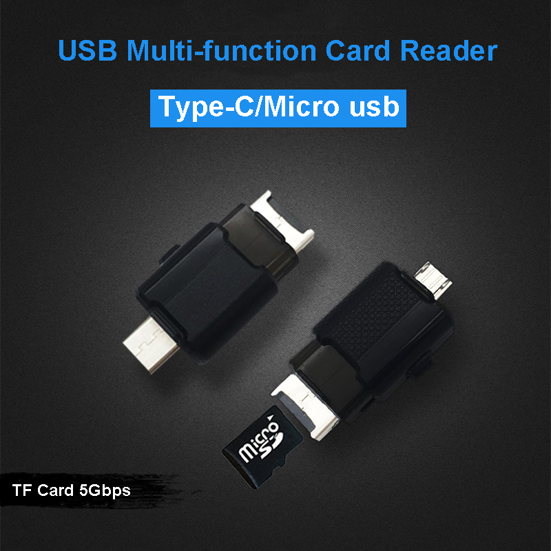 Vmonv 2 In 1 USB2.0 Type C / Micro USB & USB 2.0 OTG Memory Card Reader High-speed TF Micro SD Card To USB Adapter For Phone PC