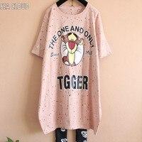 Free Shipping 2017 Spring And Summer Female Plus Size T Shirt Short Sleeve Cartoon Big Shirt