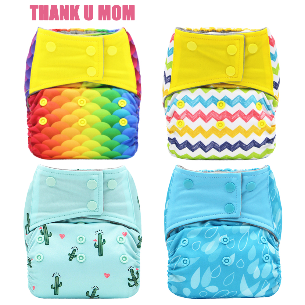 4Pcs Babmboo Charcoal Inner Waterproof PUL Outer One Size Fits All Fit 3-15kg Baby Diapers AIO Cloth Diaper