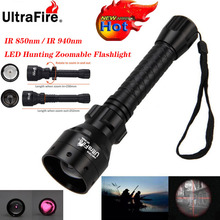 Ultrafire IR ראיית לילה פנס 10W 850nm 940nm LED Zoomable Luz אינפרא אדום קרינה טקטי פנס ציד לפיד 18650
