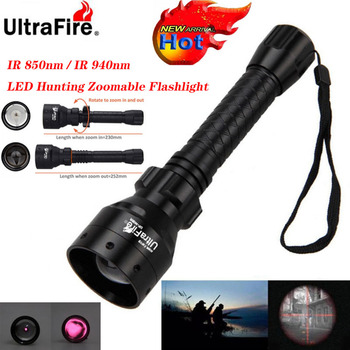 Ultrafire IR night vision Flashlight 10W 850nm 940nm LED Zoomable Luz infrared radiation tactical Flashlight hunting torch 18650 18650 ir night vision flashlgith 5w 940nm 5w 850nm led zoomable infrared radiation lantern tactical hunting torch gun mount