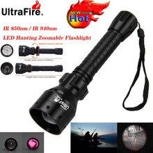 Ultrafire linterna de visión nocturna IR, 10W, 850nm, 940nm, LED ajustable, Luz de radiación infrarroja, linterna táctica de caza, 18650