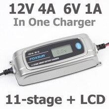 Chargeur de batterie intelligent FOXSUR 12 V 4A 6 V 1A à 11 étages, chargeur de batterie de voiture humide EFB GEL AGM 6 V 12 V avec écran LCD et désulfurateur