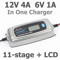 FOXSUR 12V 4A 6V 1A 11 Stage Smart Battery Charger 6V 12V EFB GEL AGM WET
