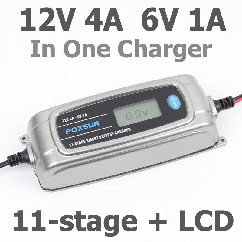 FOXSUR 12 V 4A 6 V 1A 11-stage Caricabatterie Intelligente Della Batteria, 6 V 12 V EFB GEL AGM BAGNATO Auto Caricabatteria con display LCD e Desulfator