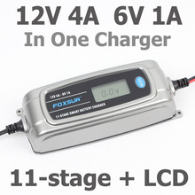 FOXSUR 12V 4A 6V 1A 11 stage Smart Battery Charger, 6V 12V EFB GEL AGM WET Car Battery Charger with LCD display & Desulfator