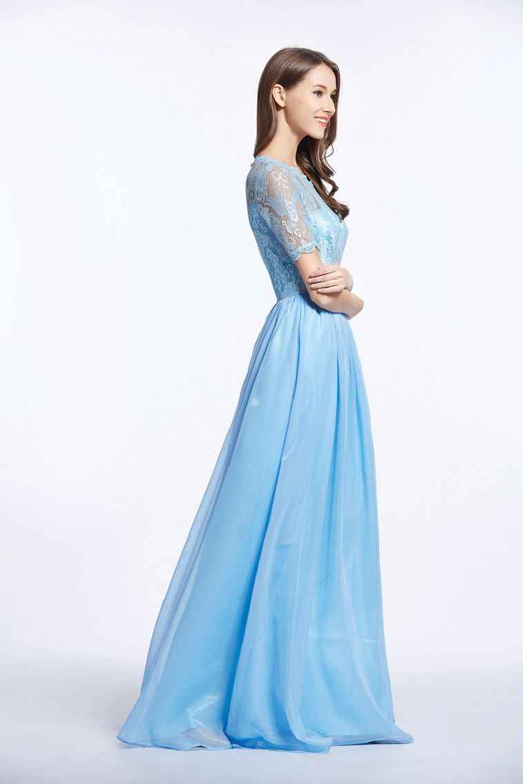 a362b0a7feec6 ... 2018 Sweet color Fairy style Light Blue Chiffon Prom Gown Lace-up  Pattern Long dress ...