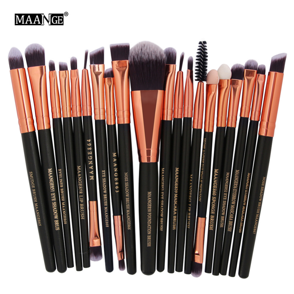 20Pcs Face Eye Makeup Brushes Set Pro Smudge Macara Sponge Lip Blending Brush Eye Shadow Foundation Brush Cosmetic Beauty Kit 10pcs professional makeup brushes set powder foundation eye shadow beauty face blusher cosmetic brush blending tools sx14