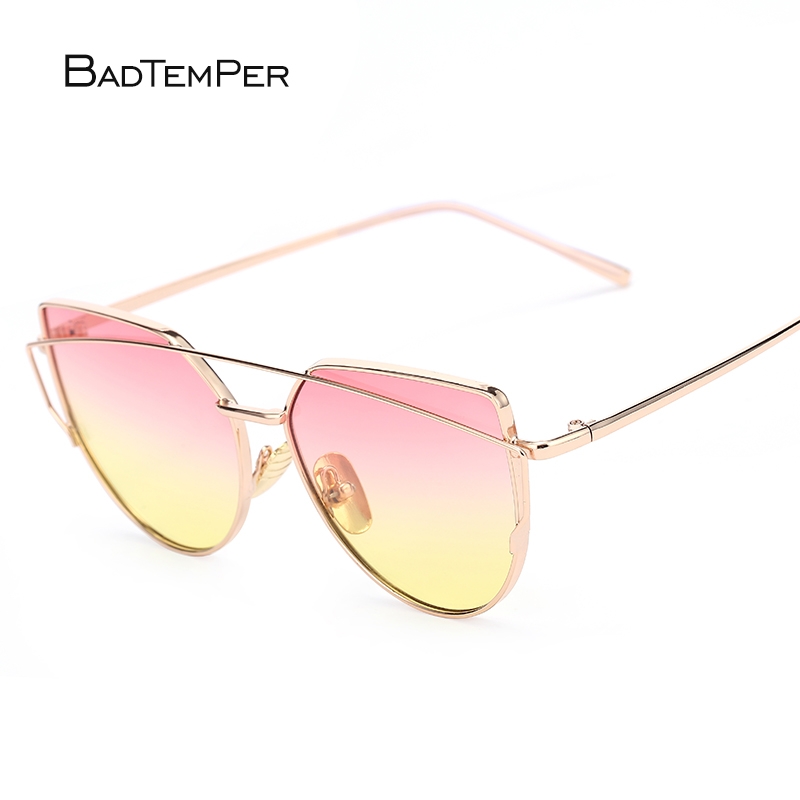 Gafas de sol badtemper ojo de gato para mujeres 9 colores doble viga gafas de sol Marco de aleación de doble cubierta protección de ojos regalos de lujo frescos
