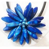 도매 진주 보석 17 인치 손 니트 블루 쉘 태양 꽃 블랙