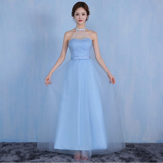 d3a59a1c75 girls simple elegant halter neck long length dress bridal maid gown dresses  sky blue light for party and wedding H3835