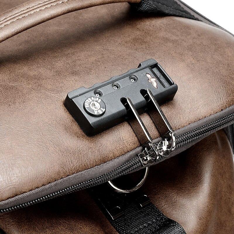 2019 New Fashion Waterproof backpack Men Backpack Leather Bookbags Mens PU School Bags Male Functional bags big capacity Men Bag in Backpacks from Luggage Bags