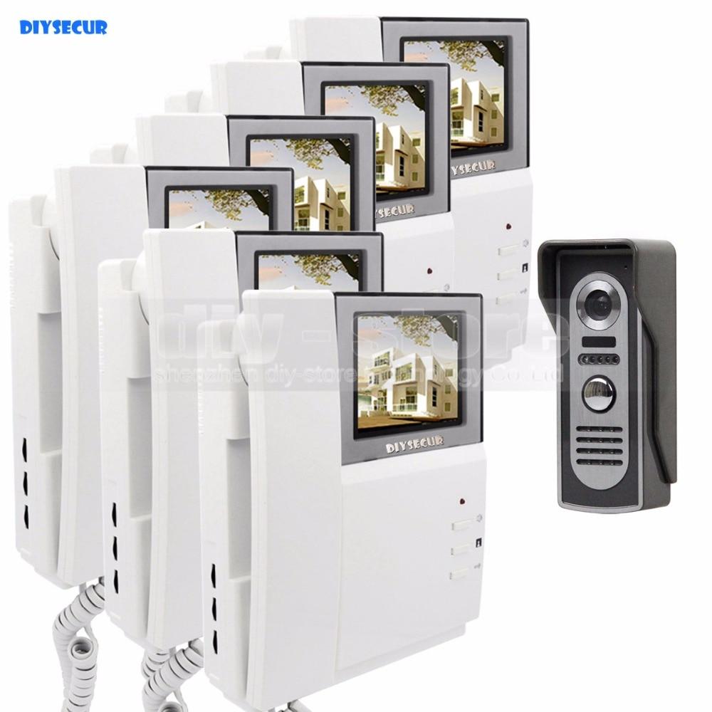 DIYSECUR 800 x 480 HD Monitor Video Door Phone Video Intercom Doorbell + 600 TVLine IR Night Vision Camera 1 Camera 6 Monitors dreambox 800 hd крайот