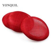 Красный 15 см sinamay База пиллбокс с grossgrain sweatband для чародейки DIY Свадебная шляпка Кентукки Дерби шляпы высокого качества MYQH1RE