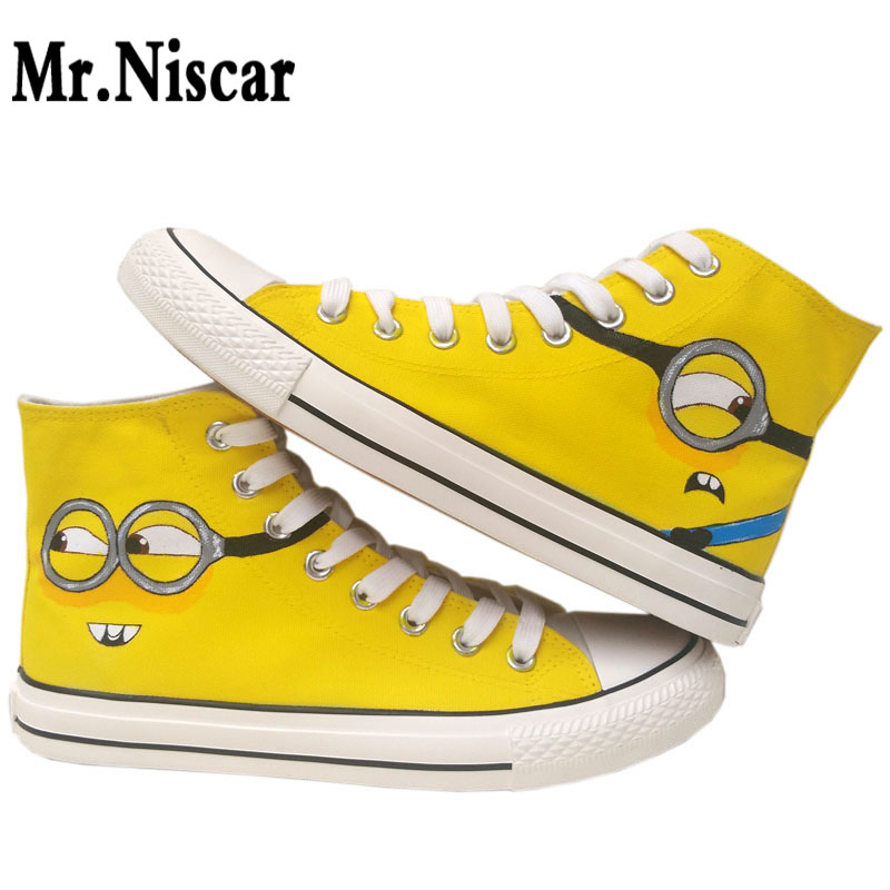 7b65156459b9 Despicable Me Anime Cartoon Hand Painted Canvas Shoes High Top Sneaker  Minion Shoes for Adults Minions Sneakers Breathable Women