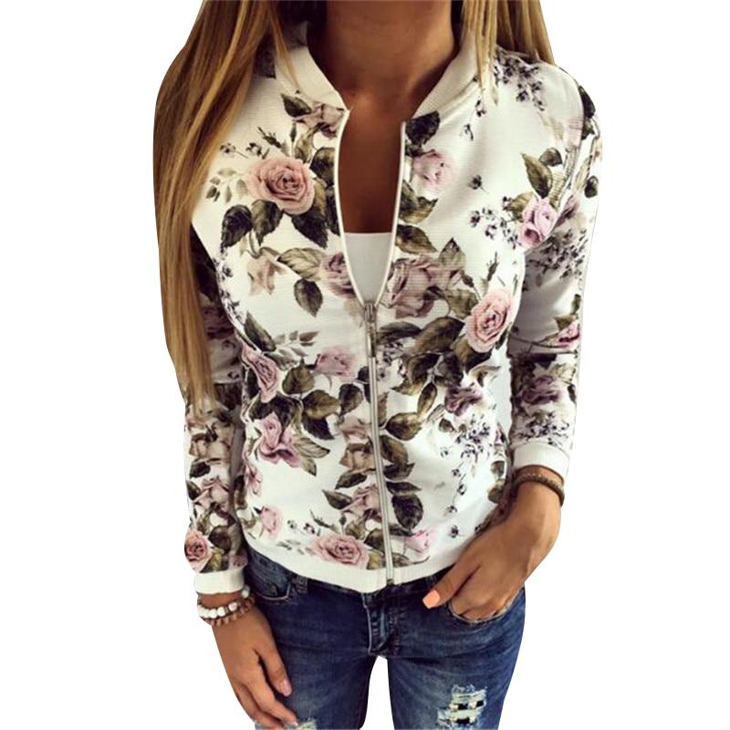 New 2018 Sequin   Jacket   Bomber   Jacket   Floral Women White Coat Casual Baseball   Jacket   Zipper   Basic   Outerwear Coats Chaqueta Mujer