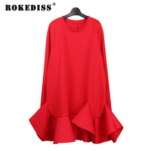 2017 New Women's fashion red sexy ruffles dresses school girls casual spring black slim dresses lady beach loose clothing TG365