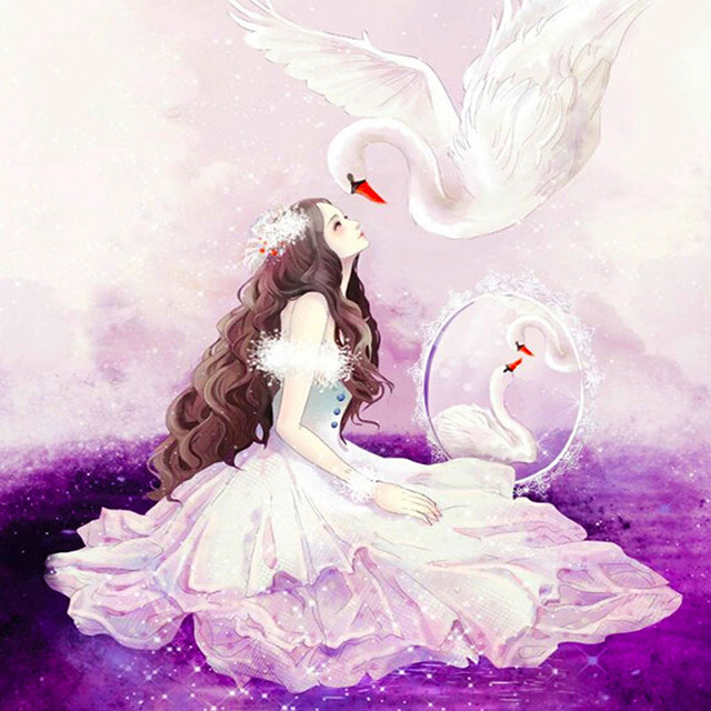 swan princess diy 5d diamond painting pasted embroidery full drill