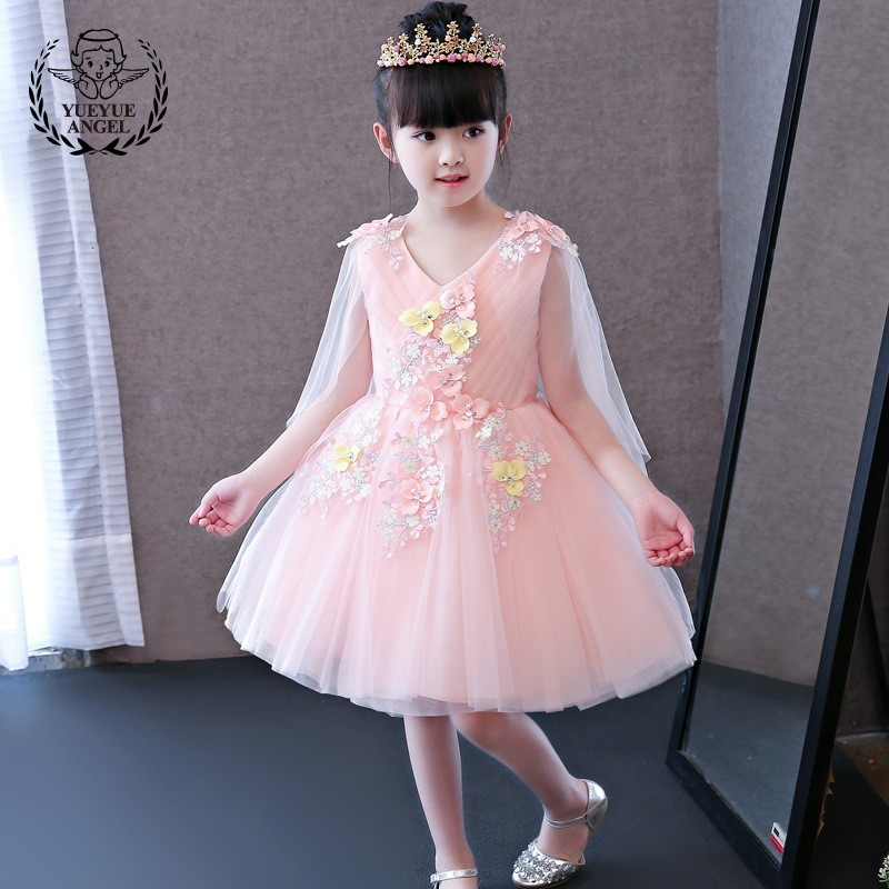 Cute Princess Dress Girl Wedding Lace Dress Party V-Neck Dresses For Girls Ball Gown Sleeveless Kids Dresses For Girls Floral