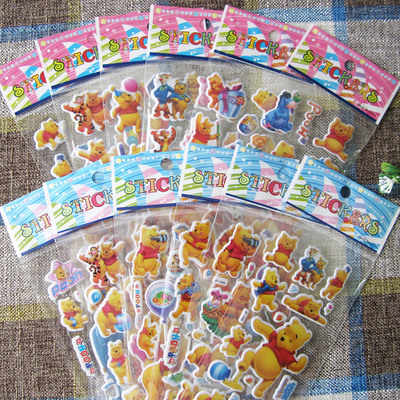 חדש 12 גיליונות/הרבה 3D תינוק דוב cartoon פו הדוב בועת מדבקות אנימה מדבקות קיר מדבקות לילדים מתנה נפוח גמול חדרי
