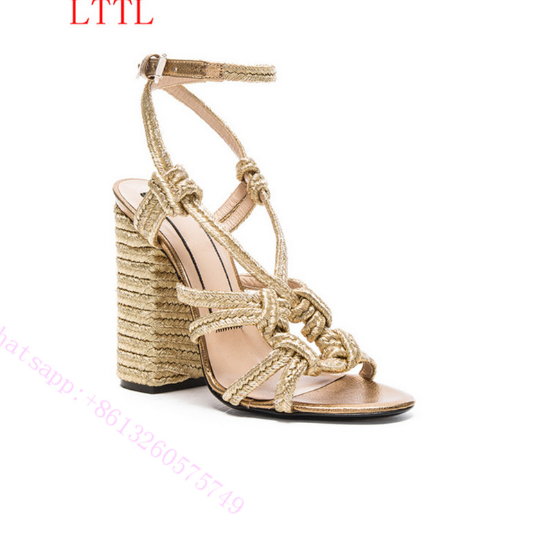 ФОТО Fashion women sandals shoes Straw sandals woven fashion restoring ancient ways with high heels toe lace-up high heels   Comfort