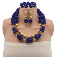 Blue Beads Jewellery Set New Dubai Gold Jewellery Chunky Crystal Statement Necklace Set African Bride Jewelry Set