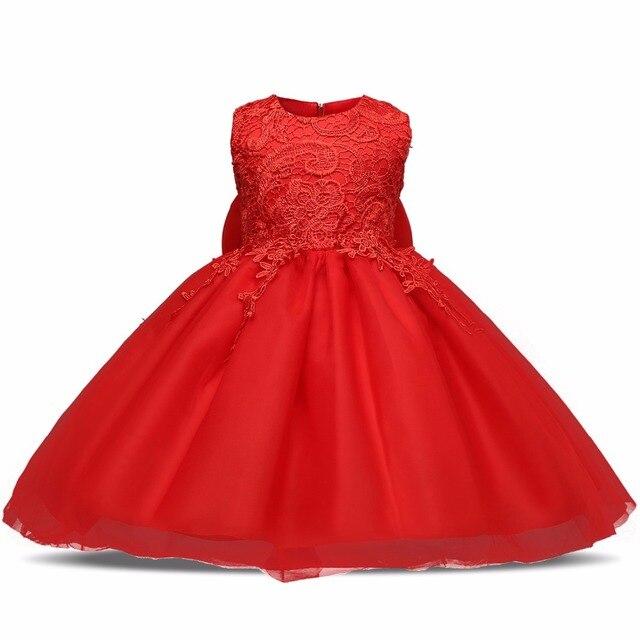 d191270d0 Flor roja Newborn Baby Girls Vestido de Bautismo Kids Ropa 1 año Vestido  Infantil de la Princesa Fiesta de Cumpleaños Ropa de La Muchacha Vestidos  ...