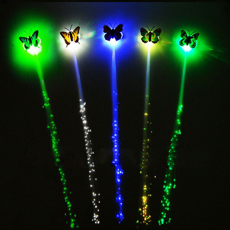 Красочные светодиодные, мигающие, для волос коса бабочка волосы светодиодный бабочка светящиеся игральные кости вечерние ночные светящиеся реквизиты вечерние день Святого Валентина Декор