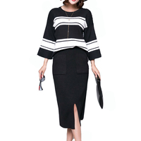 Winter 2 Pieces Sets Knitted Three quarter Sleeve Sweater Skirt Suit Elastic Waist Skirts & Striped Pullover Women Outfits Mujer