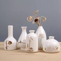 Ceramic Vase Crafts Chinese Style Hand painted Lotus Pattern Handmade Classical Fashion Creative Home Decoration Vases