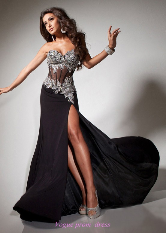 Aliexpress.com : Buy Sexy High Slit Black Mermaid Prom Dress 2014 ...