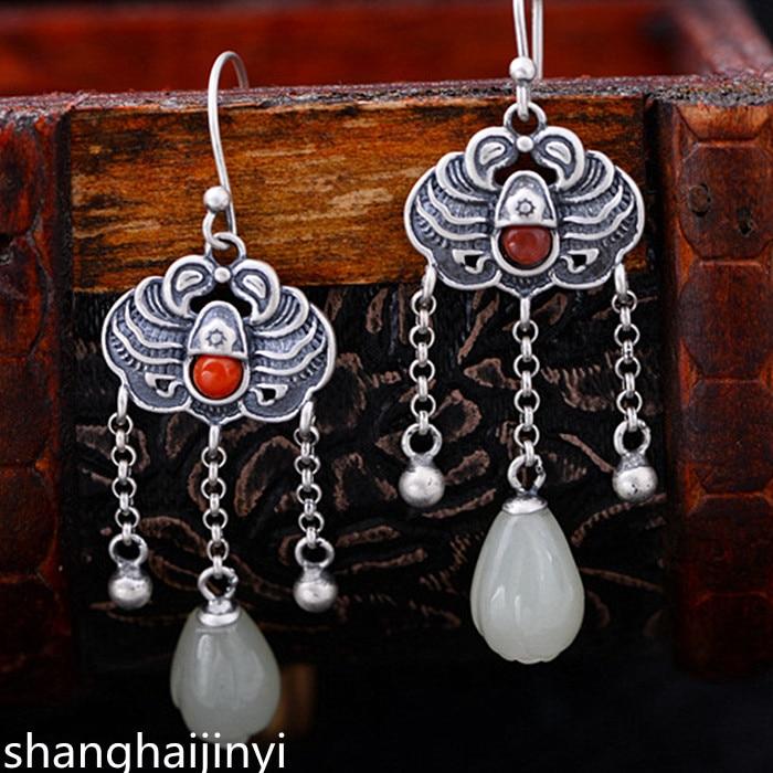 KJJEAXCMY S925 sterling silver jewelry, scrub carp, silver inlaid jade, beautiful tassel lady Earrings