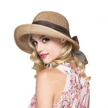 Fashion Bow Straw Hat Summer Women Flat Large Brimmed Cap Ladies Travel Beach Sunshade Caps Outdoor Headwear Sun Hats CP0228
