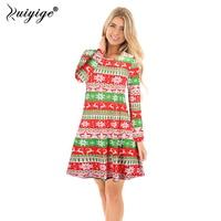 Ruiyige 2017 Autumn Women Xmas Party Dress Funny Cartoon Christmas Print Full Sleeves O Neck Tunic