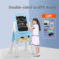 Children's Drawing Board Easel Bracket Magnetic Graffiti Board Writing Board Household Can Lift Double sided Small Blackboard