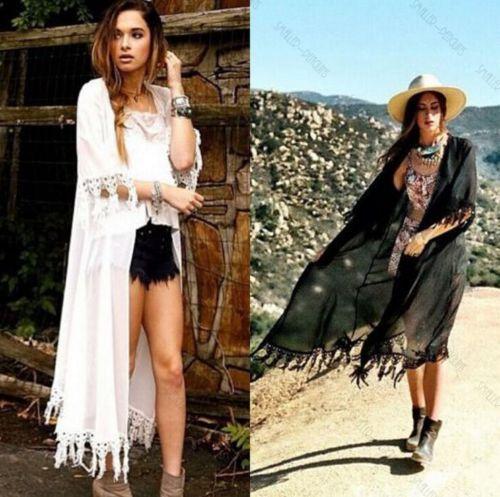 Black Friday Deals 2016 Brand Women Tassel Jacket Chiffon Cardigan Long Top Blousa Bikini Swimwear Cover Up Beach Dress