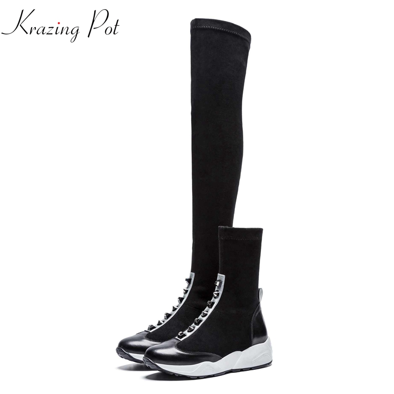 Krazing Pot 2019 new hot sale genuine leather winter stretch boots metal rivets leisure casual round