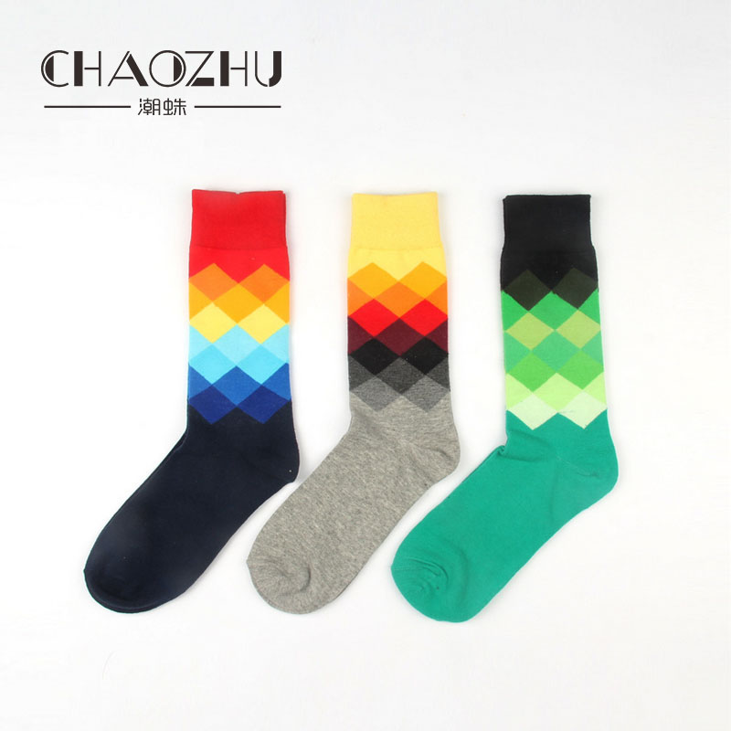 CHAOZHU 2017 Trendy Men Socks European Fashion Street Snap Socks Cotton Knitted Casual Socks For Men Size 39-45