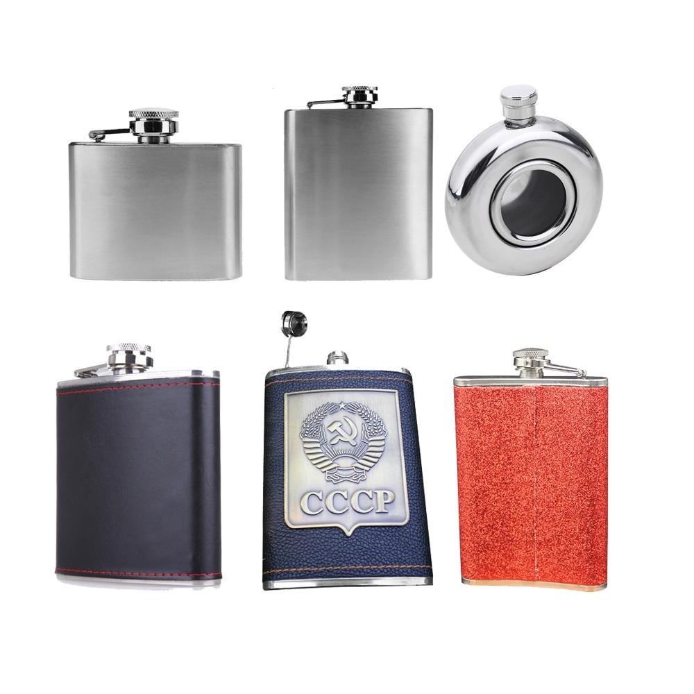 6//7oz Stainless Steel Pocket Hip Flask Alcohol Whiskey Liquor Wine Pot Flagon